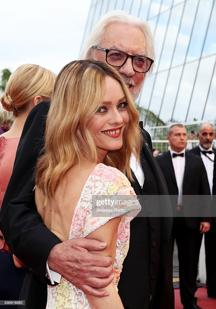 Jury members Vanessa Paradis and Donald Sutherland attend the 'Cafe Society' premiere and the Opening Night Gala during the 69th annual Cannes Film Festival at the Palais des Festivals on May 11, 2016 in Cannes, France.