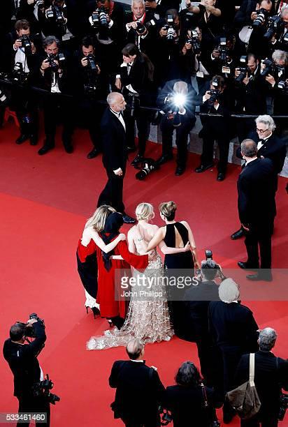 Jury members Vanessa Paradis Katayoon Shahabi Kirsten Dunst and Valeria Golino attend the closing ceremony of the 69th annual Cannes Film Festival at...