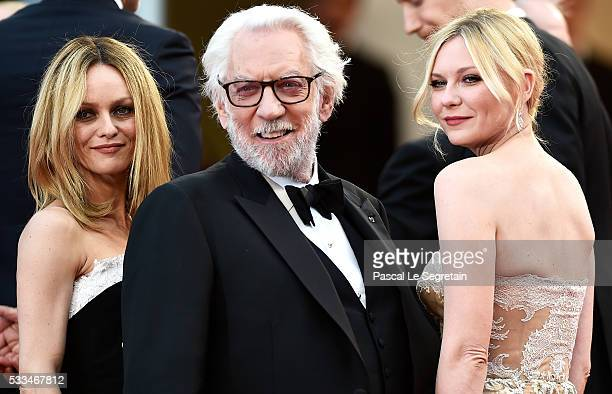 Jury members Vanessa Paradis Kirsten Dunst and Donald Sutherland attend the closing ceremony of the 69th annual Cannes Film Festival at the Palais...