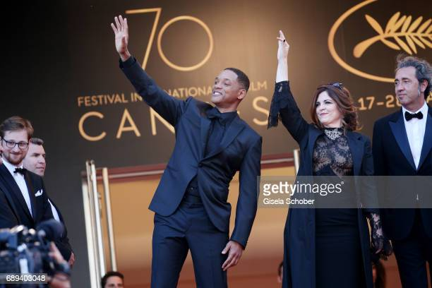 Jury members Will Smith Agnes Jaoui and Paolo Sorrentino attend the Closing Ceremony during the 70th annual Cannes Film Festival at Palais des...