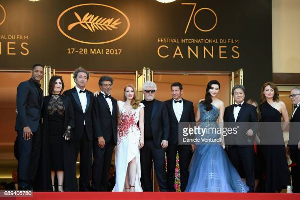 Jury members Will Smith Agnes Jaoui Paolo Sorrentino Gabriel Yared and Jessica Chastain President of the jury Pedro Almodovar mayor of Cannes David...