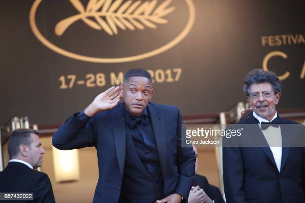 Jury members Will Smith and Gabriel Yared attend the 70th Anniversary of the 70th annual Cannes Film Festival at Palais des Festivals on May 23 2017...