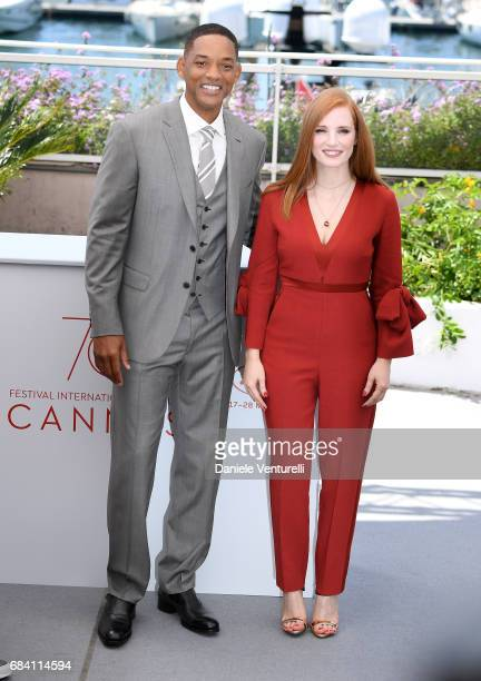 Jury members Will Smith and Jessica Chastain attend the Jury photocall during the 70th annual Cannes Film Festival at Palais des Festivals on May 17...