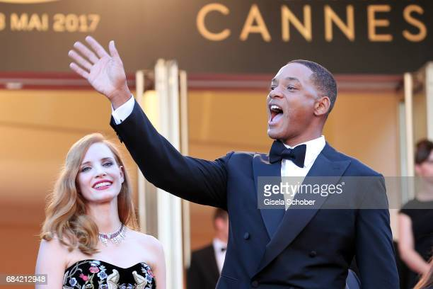Jury members Will Smith and Jessica Chastain attends the 'Ismael's Ghosts ' screening and Opening Gala during the 70th annual Cannes Film Festival at...