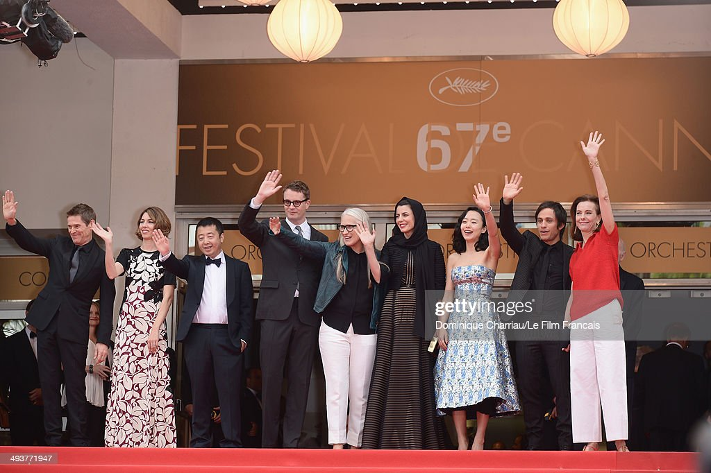 Jury members <a gi-track='captionPersonalityLinkClicked' href=/galleries/search?phrase=Willem+Dafoe&family=editorial&specificpeople=203171 ng-click='$event.stopPropagation()'>Willem Dafoe</a>, <a gi-track='captionPersonalityLinkClicked' href=/galleries/search?phrase=Sofia+Coppola&family=editorial&specificpeople=202230 ng-click='$event.stopPropagation()'>Sofia Coppola</a>, Zhangke Jia, <a gi-track='captionPersonalityLinkClicked' href=/galleries/search?phrase=Nicolas+Winding+Refn&family=editorial&specificpeople=5498587 ng-click='$event.stopPropagation()'>Nicolas Winding Refn</a>, <a gi-track='captionPersonalityLinkClicked' href=/galleries/search?phrase=Jane+Campion&family=editorial&specificpeople=616530 ng-click='$event.stopPropagation()'>Jane Campion</a>, <a gi-track='captionPersonalityLinkClicked' href=/galleries/search?phrase=Leila+Hatami&family=editorial&specificpeople=7082232 ng-click='$event.stopPropagation()'>Leila Hatami</a>, <a gi-track='captionPersonalityLinkClicked' href=/galleries/search?phrase=Do-yeon+Jeon&family=editorial&specificpeople=4299903 ng-click='$event.stopPropagation()'>Do-yeon Jeon</a>, Gael Garcia Bernal and Carole Bouquet attend the red carpet for the Palme D'Or winners at the 67th Annual Cannes Film Festival on May 25, 2014 in Cannes, France.