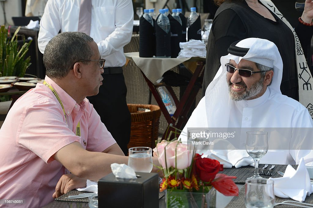 Jury members Yasmina Khadra and Dr. Emad Amralla Sultan attend the Arab Guests Lunch during the 2012 Doha Tribeca Film Festival at the Al Mourjan Restaurant on November 20, 2012 in Doha, Qatar.