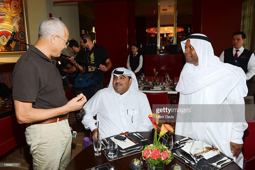 Jury Members Yasmina Khadra (L) and Hafiz Ali Ali and Faraj Daham attend the Awards Lunch during the 2012 Doha Tribeca Film Festival at St Regis Hotel on November 23, 2012 in Doha, Qatar.