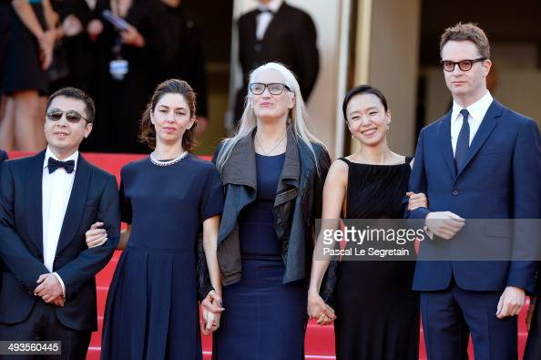 Jury members Zhangke Jia Sofia Coppola Jury President Jane Campion jury members Doyeon Jeon and Nicolas Winding Refn attend the Closing Ceremony and...