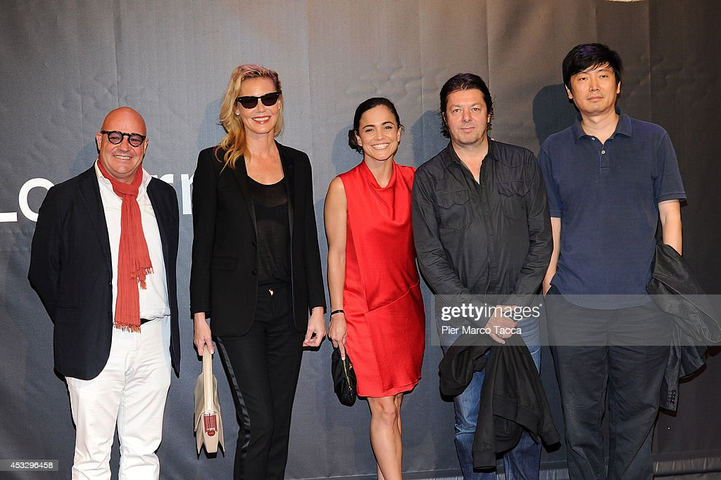 Jury of the International Competition (L-R) Gianfranco Rosi, <a gi-track='captionPersonalityLinkClicked' href=/galleries/search?phrase=Connie+Nielsen&family=editorial&specificpeople=206287 ng-click='$event.stopPropagation()'>Connie Nielsen</a>, <a gi-track='captionPersonalityLinkClicked' href=/galleries/search?phrase=Alice+Braga&family=editorial&specificpeople=211115 ng-click='$event.stopPropagation()'>Alice Braga</a>, Thomas Arslan and <a gi-track='captionPersonalityLinkClicked' href=/galleries/search?phrase=Diao+Yinan&family=editorial&specificpeople=12469786 ng-click='$event.stopPropagation()'>Diao Yinan</a> attend 'Lucy' Premiere on August 6, 2014 in Locarno, Switzerland.
