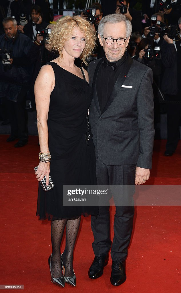 Jury President and Director Steven Spielberg with Kate Capshaw attend 'Jimmy P. (Psychotherapy Of A Plains Indian)' Premiere during the 66th Annual Cannes Film Festival at Grand Theatre Lumiere on May 18, 2013 in Cannes, France.