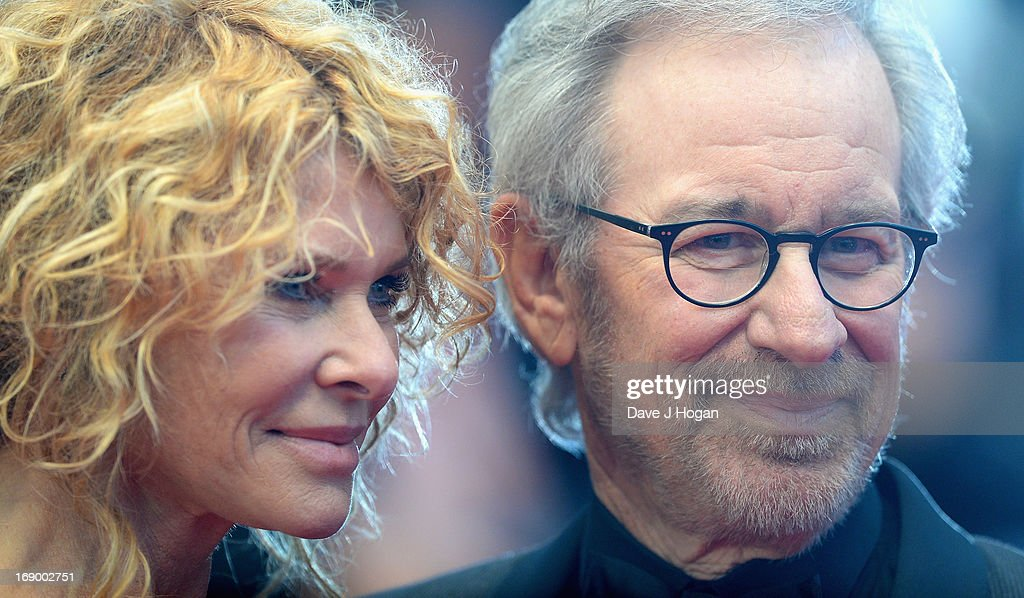 Jury President and Director Steven Spielberg (R) with Kate Capshaw attend 'Jimmy P. (Psychotherapy Of A Plains Indian)' Premiere during the 66th Annual Cannes Film Festival at Grand Theatre Lumiere on May 18, 2013 in Cannes, France.