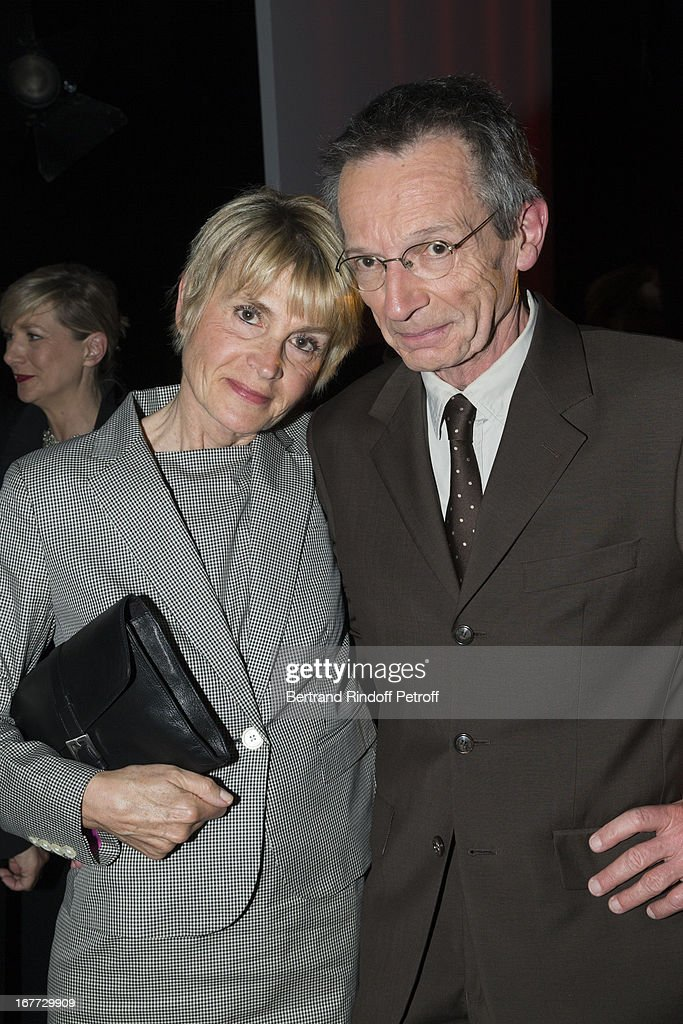 Jury President film maker Patrice Leconte poses with his wife Agnes Beraud during the 'Palmares Du Theatre 2013' award ceremony on April 28 2013 in...