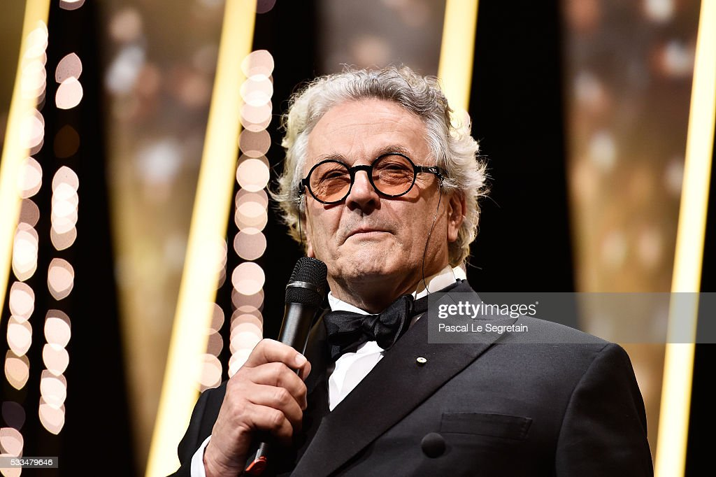 Jury president George Miller speaks on stage during the closing ceremony of the annual 69th Cannes Film Festival at Palais des Festivals on May 22...