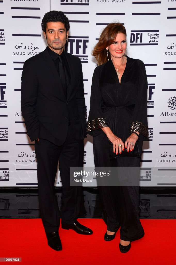 Jury President Hend Sabry (R) attends the opening night ceremony and gala screening of 'The Reluctant Fundamentalist' during the 2012 Doha Tribeca Film Festival at Al Mirqab Hotel on November 17, 2012 in Doha, Qatar.