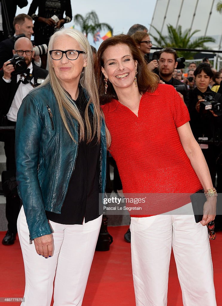 Jury president Jane Campion and jury member Carole Bouquet attend the red carpet for the Palme D'Or winners at the 67th Annual Cannes Film Festival on May 25, 2014 in Cannes, France.