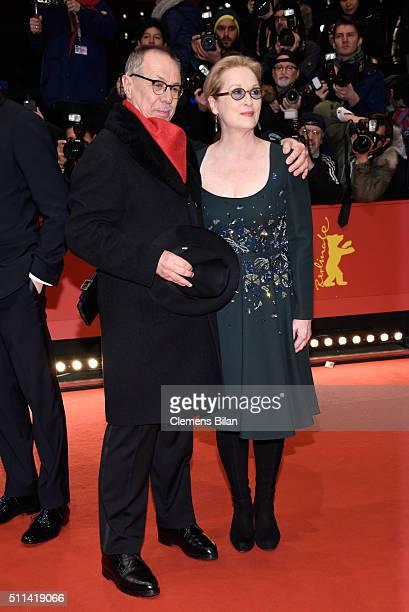 Jury president Meryl Streep and festival director Dieter Kosslick attend the closing ceremony of the 66th Berlinale International Film Festival on...