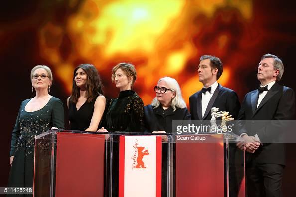 Jury president Meryl Streep and jury members Malgorzata Szumowska Alba Rohrwacher Brigitte Lacombe Clive Owen and Nick James appear on stage during...