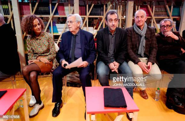 Jury president of the Goncourt prize Bernard Pivot and former Goncourt laureates FrenchMoroccan writer Leila Slimani and French author Jerome Ferrari...