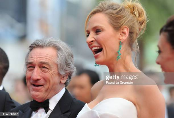 Jury President Robert De Niro and Jury Member Uma Thurman attend the Opening Ceremony at the Palais des Festivals during the 64th Cannes Film...