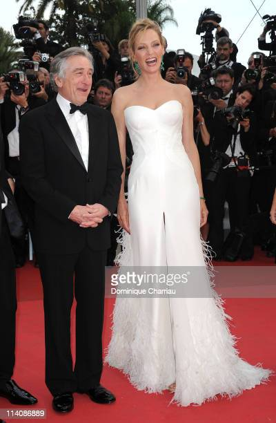 Jury President Robert De Niro and jury member Uma Thurman attend the Opening Ceremony and 'Midnight In Paris' Premiere at the Palais des Festivals...