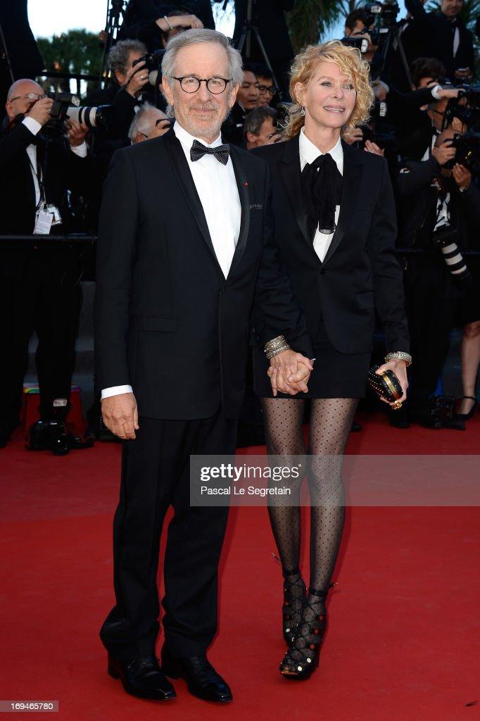 Jury president Steven Spielberg and Kate Capshaw attend the 'La Venus A La Fourrure' premiere during The 66th Annual Cannes Film Festival at Theatre...