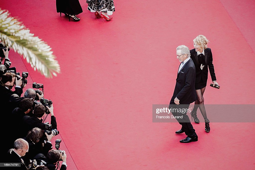 Jury president Steven Spielberg and Kate Capshaw attend the 'La Venus A La Fourrure' premiere during The 66th Annual Cannes Film Festival on May 25, 2013 in Cannes, France.