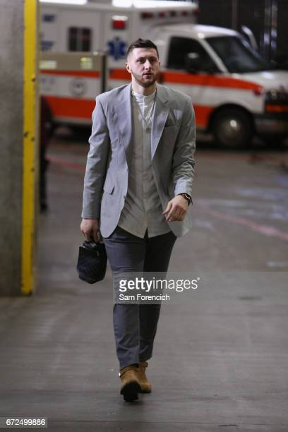 Jusef Nurkic of the Portland Trailblazers arrives at arena before the game against the Golden State Warriors during Game Four of the Western...