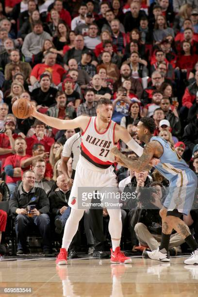 Jusef Nurkic of the Portland Trailblazers handles the ball against the Denver Nuggets on March 28 2017 at the Moda Center in Portland Oregon NOTE TO...