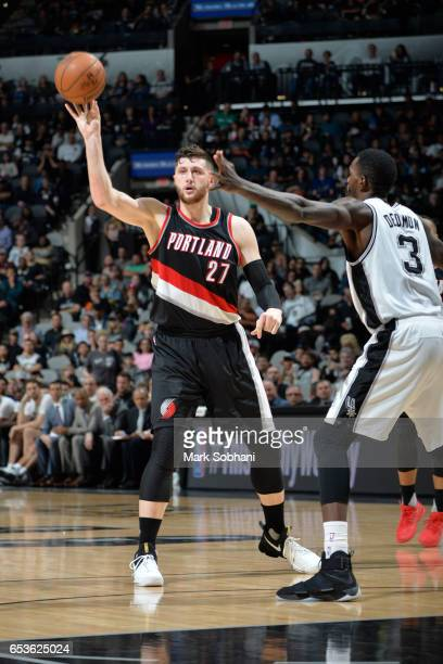 Jusef Nurkic of the Portland Trailblazers passes the ball against the San Antonio Spurs on March 15 2017 at the ATT Center in San Antonio Texas NOTE...