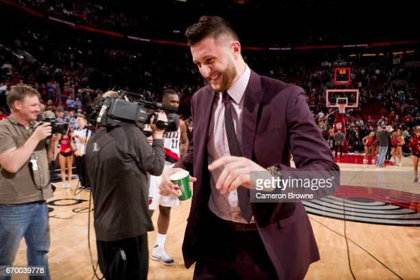 Jusef Nurkic of the Portland Trailblazers smiles after the game against the San Antonio Spurs on April 10 2017 at the Moda Center in Portland Oregon...