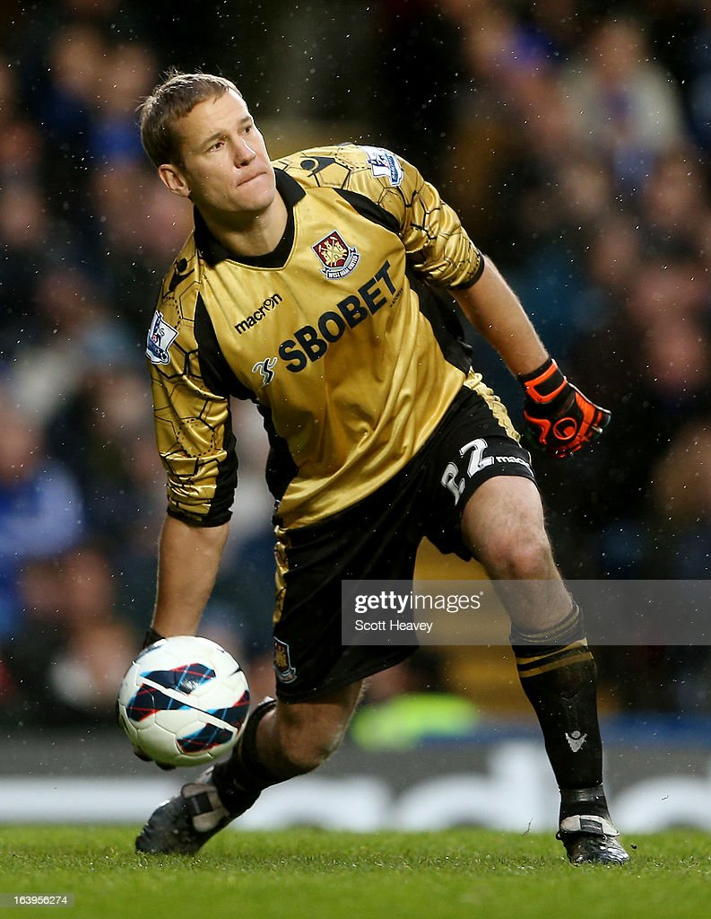 Jussi Jaaskelainen of West Ham in action during the Barclays Premier League match between Chelsea and West Ham United at Stamford Bridge on March 17, 2013 in London, England.