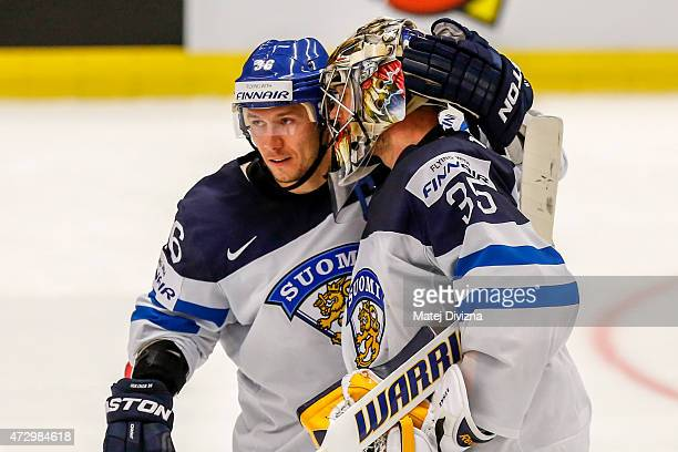 Jussi Jokinen of Finland and his teammate Pekka Rinne celebrate after the IIHF World Championship group B match between Finland and Belarus at CEZ...