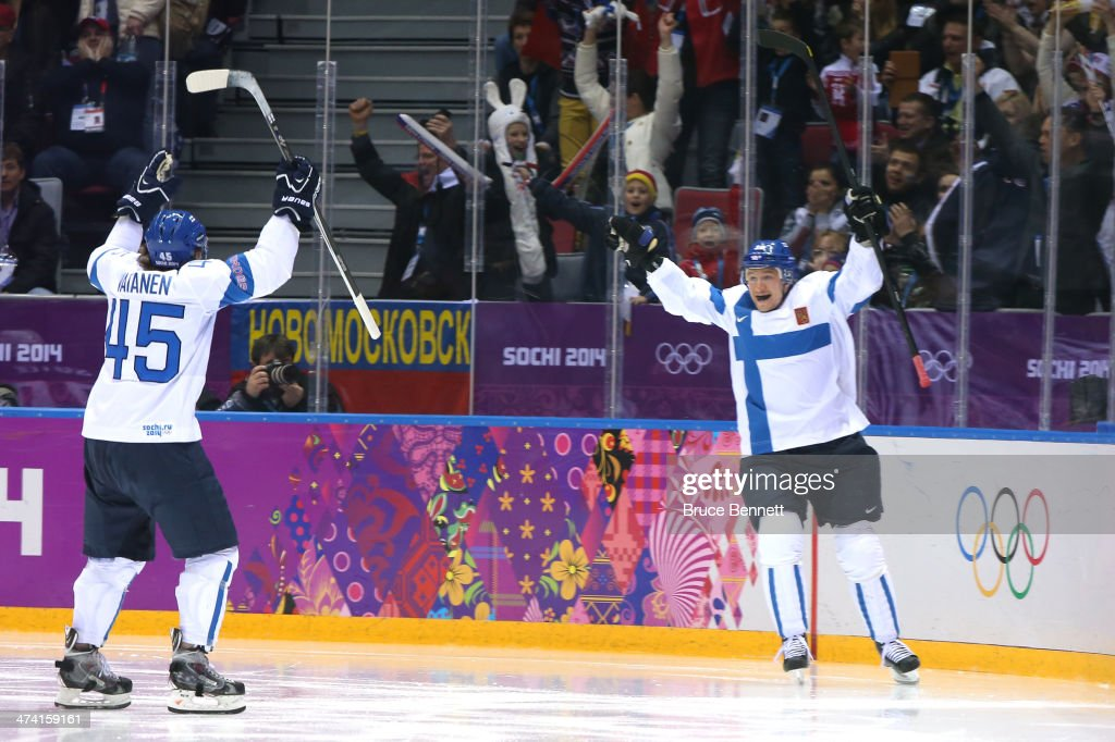Jussi Jokinen #36 of Finland celebrates his goal in the second period with Sami Vatanen #45 against the United States during the Men's Ice Hockey Bronze Medal Game on Day 15 of the 2014 Sochi Winter Olympics at Bolshoy Ice Dome on February 22, 2014 in Sochi, Russia.