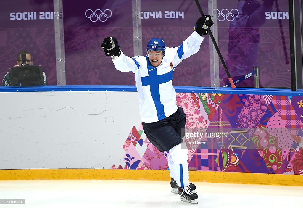 Jussi Jokinen #36 of Finland celebrates his goal in the second period against the United States during the Men's Ice Hockey Bronze Medal Game on Day 15 of the 2014 Sochi Winter Olympics at Bolshoy Ice Dome on February 22, 2014 in Sochi, Russia.