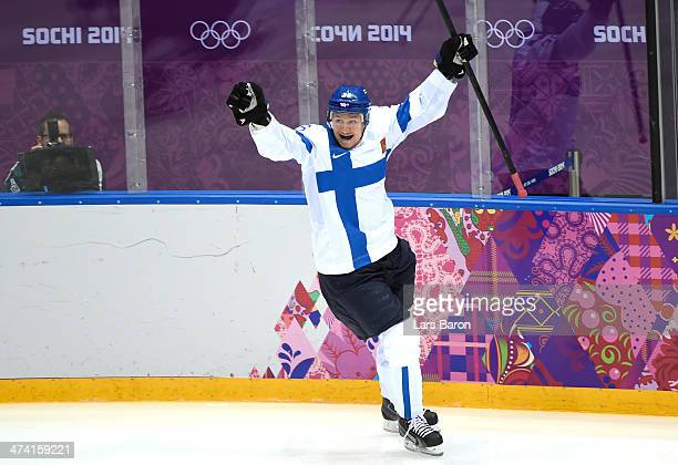 Jussi Jokinen of Finland celebrates his goal in the second period against the United States during the Men's Ice Hockey Bronze Medal Game on Day 15...