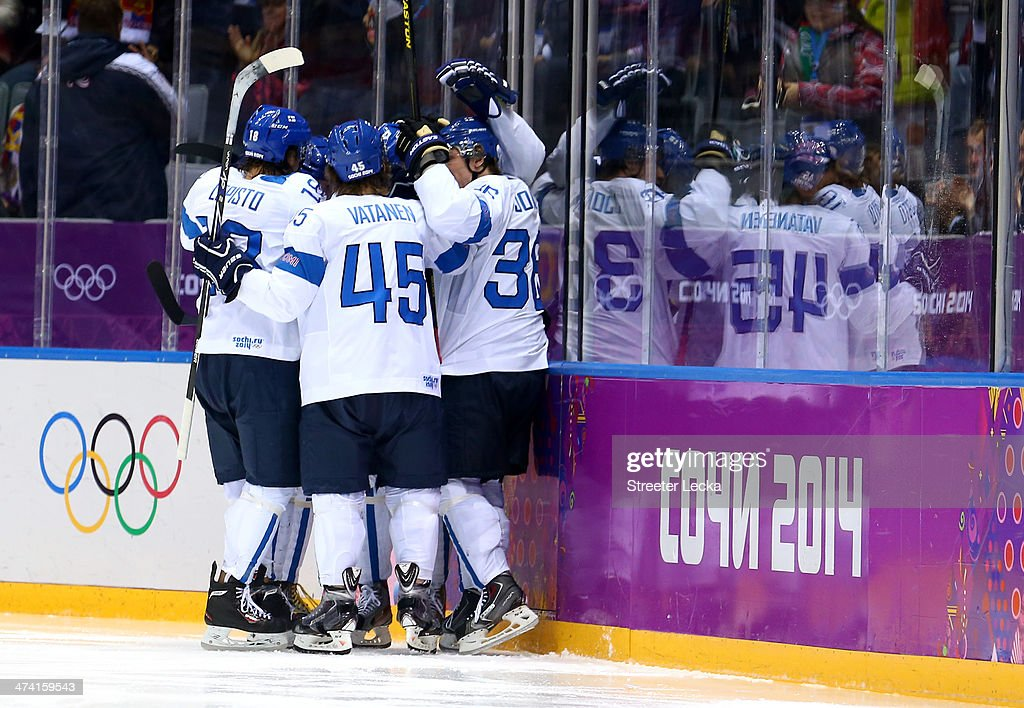 Jussi Jokinen #36 of Finland celebrates his goal in the second period with Jori Lehtera #21, Petri Kontiola #27, Sami Lepisto #18 and Sami Vatanen #45 against the United States during the Men's Ice Hockey Bronze Medal Game on Day 15 of the 2014 Sochi Winter Olympics at Bolshoy Ice Dome on February 22, 2014 in Sochi, Russia.