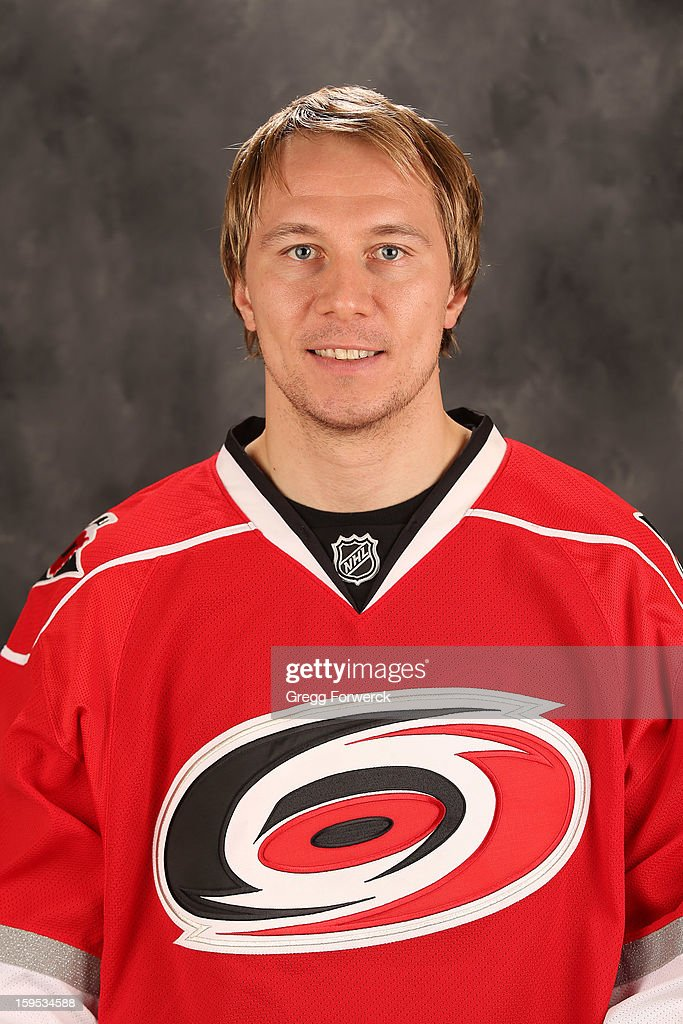 Jussi Jokinen #36 of the Carolina Hurricanes poses for his official headshot for the 2012-2013 season on January 13,2013 in Raleigh, North Carolina.