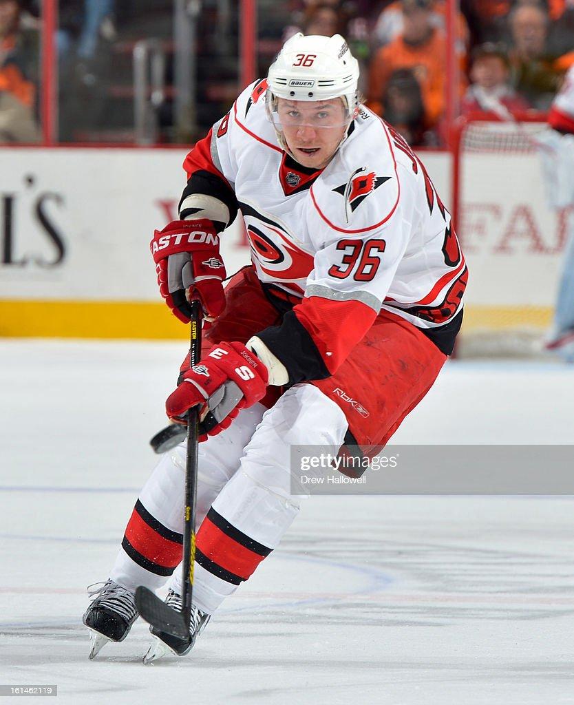 Jussi Jokinen #36 of the Carolina Hurricanes skates during the game against the Philadelphia Flyers at the Wells Fargo Center on February 9, 2013 in Philadelphia, Pennsylvania.