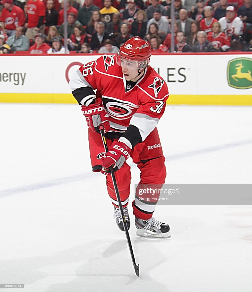 Jussi Jokinen #36 of the Carolina Hurricanes skates for position on the ice during an NHL game against the Boston Bruins on January 28, 2013 at PNC Arena in Raleigh North Carolina.