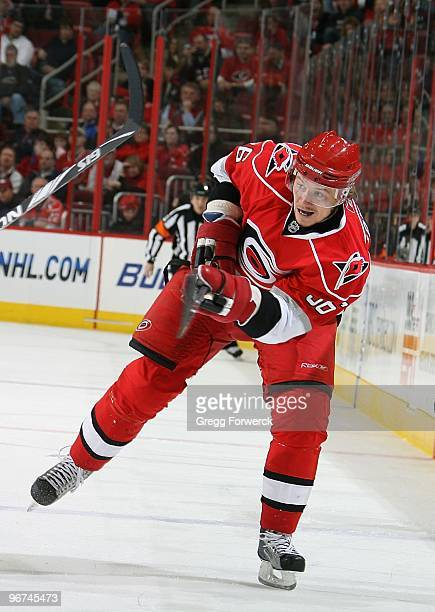 Jussi Jokinen of the Carolina Hurricanes takes a shot on goal during a NHL game against the Florida Panthers on February 9 2010 at RBC Center in...