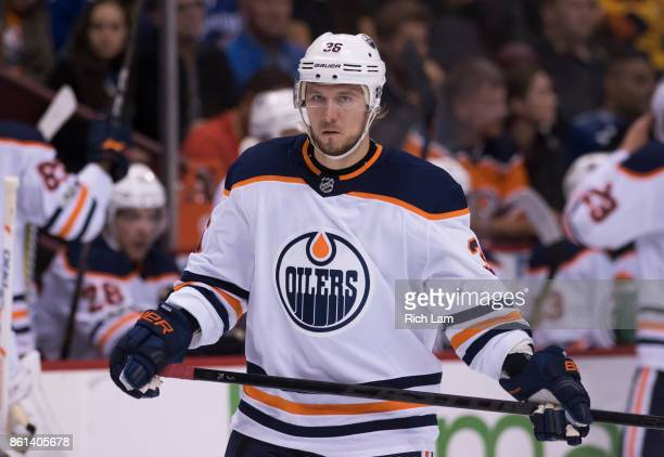 Jussi Jokinen of the Edmonton Oilers during NHL action against the Vancouver Canucks on October 7 2017 at Rogers Arena in Vancouver British Columbia...