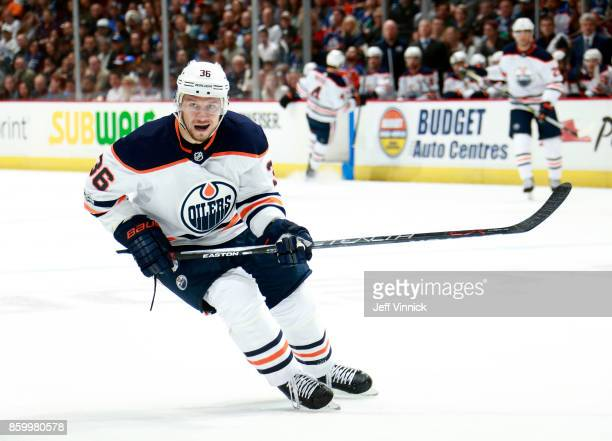 Jussi Jokinen of the Edmonton Oilers skates up ice during their NHL game against the Vancouver Canucks at Rogers Arena October 7 2017 in Vancouver...