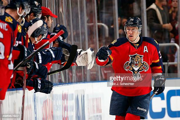 Jussi Jokinen of the Florida Panthers celebrates his goal with teammates against the New York Islanders at the BBT Center on November 27 2015 in...