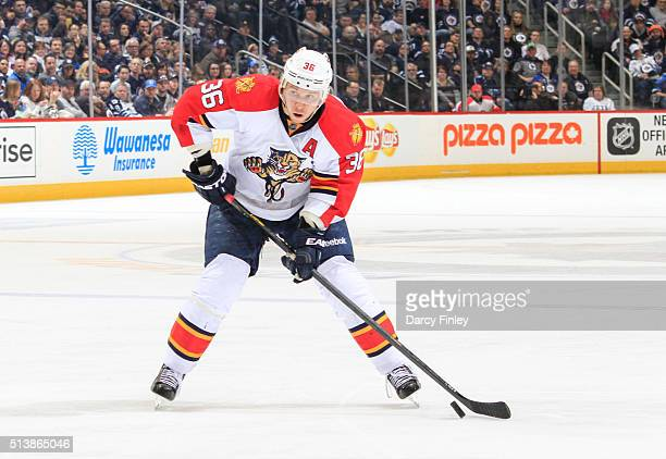 Jussi Jokinen of the Florida Panthers gets set to take a shot on goal during third period action against the Winnipeg Jets at the MTS Centre on March...