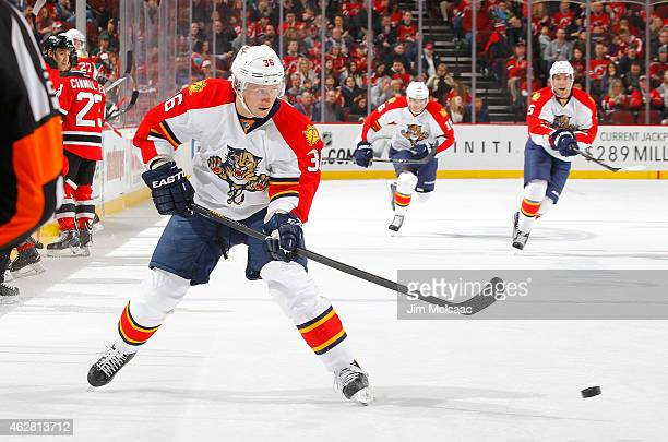 Jussi Jokinen of the Florida Panthers in action against the New Jersey Devils at the Prudential Center on January 31 2015 in Newark New Jersey The...