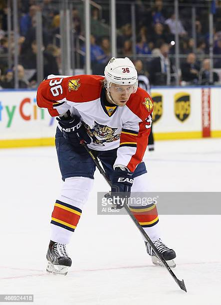 Jussi Jokinen of the Florida Panthers in action against the New York Rangers during their game at Madison Square Garden on March 15 2015 in New York...