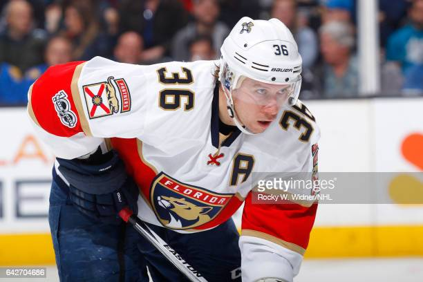 Jussi Jokinen of the Florida Panthers looks on during the game against the San Jose Sharks at SAP Center on February 15 2017 in San Jose California