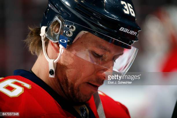 Jussi Jokinen of the Florida Panthers on the ice prior to the start of the game against the Carolina Hurricanes at the BBT Center on February 28 2017...