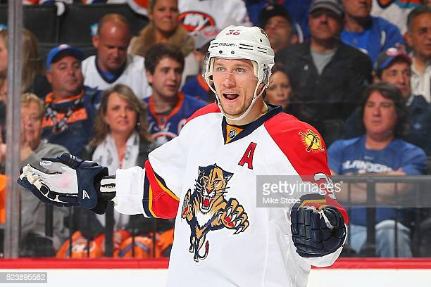 Jussi Jokinen of the Florida Panthers reacts against New York Islanders in Game Six of the Eastern Conference First Round during the NHL 2016 Stanley...