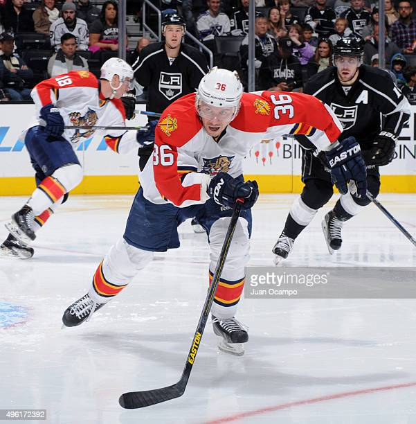 Jussi Jokinen of the Florida Panthers skates after the puck during a game against the Los Angeles Kings on November 7 2015 at Staples Center in Los...